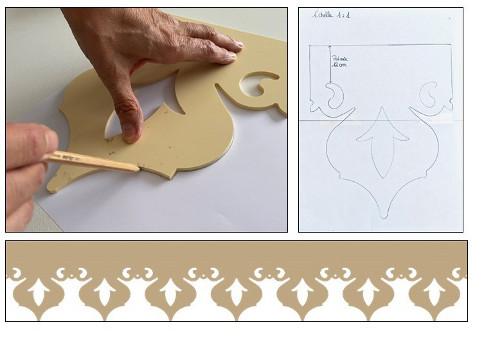 Reproduction lambrequin contour feuille